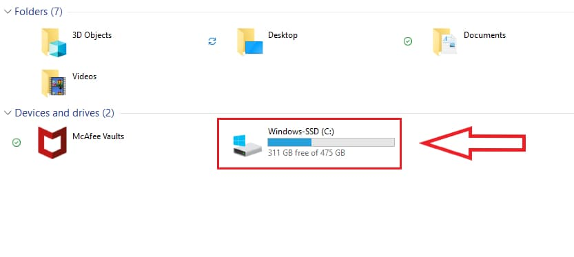 how much storage do I have win10